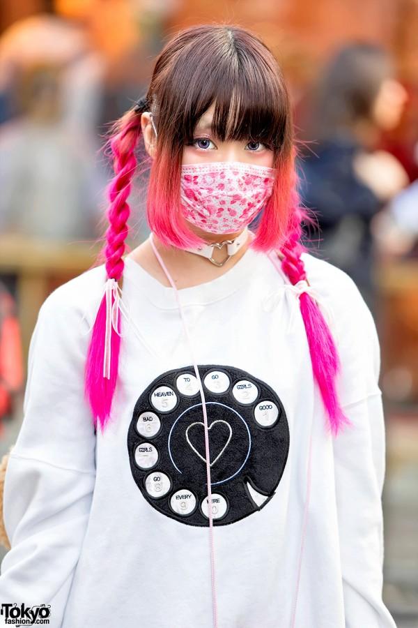 Japanese Idol with Pink Twin Braids