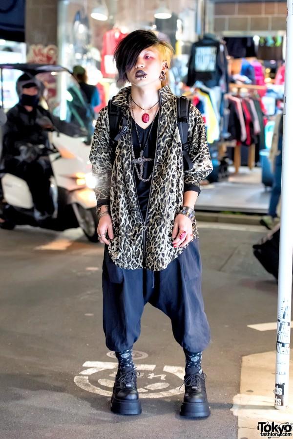 Dark Harajuku Style w/ Piercings, Demonia Boots & Brain Necklace