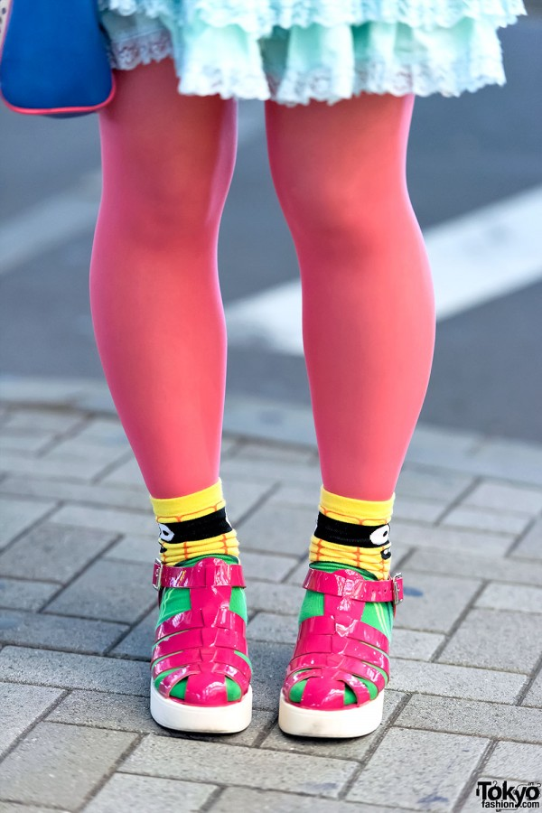 Colorful Socks & Nakano Broadway Sandals