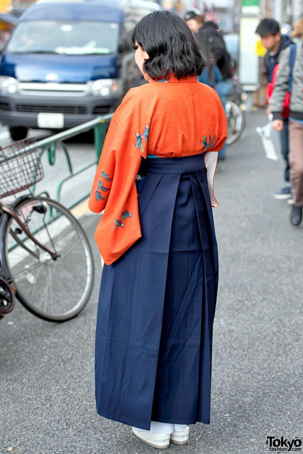 Harajuku Girl in Orange Hakama