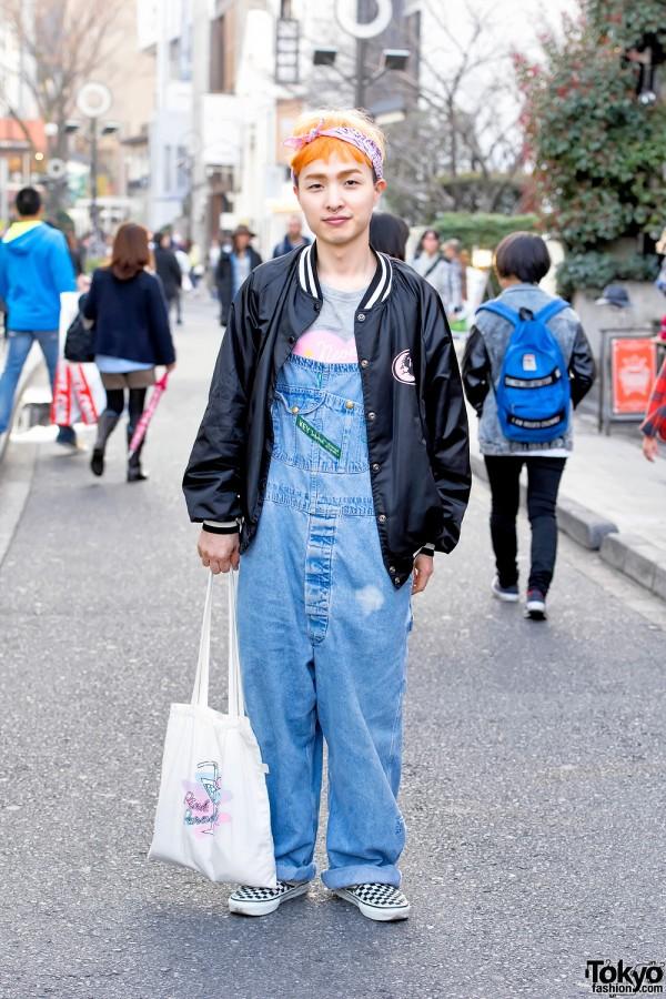 Neon Moon Owner w/ Orange Hair, Denim Overalls & Vans in Harajuku