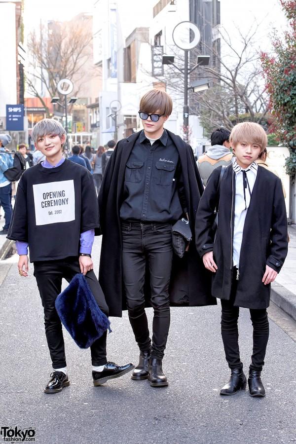 Harajuku Guys in Monochrome Fashion w/ Opening Ceremony, MORPH8NE, Chanel & Dr. Martens