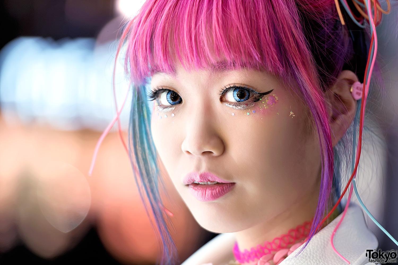 Harajuku Girl W Pink Blue Hair Galaxxxy Joyrich Amp Hair