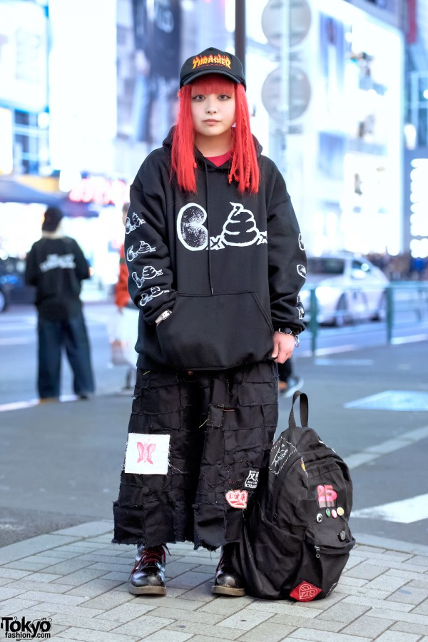 Crust Punk Skirt, Hentaiworks Backpack & Punk Do Hoodie in Harajuku