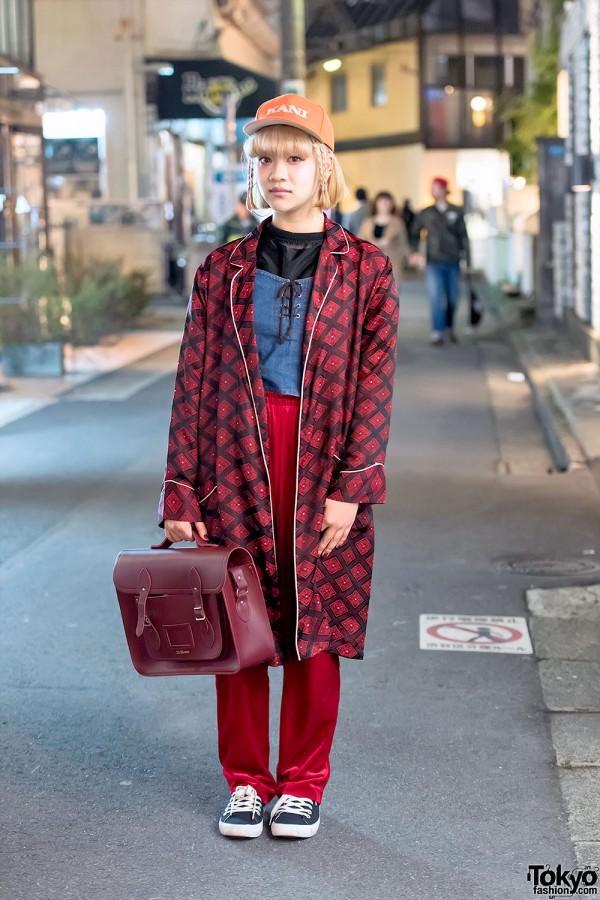Harajuku Girl in Resale Fashion w/ Red Coat, Velvet Pants & Dr. Martens Satchel