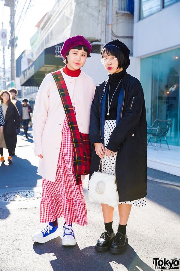 Harajuku Girls in Long Skirts & Berets