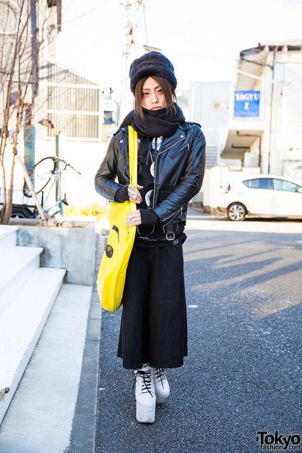 Harajuku Guy in Black w/ Dolls Kill Emoji Bag, YRU Platforms & Vivienne Westwood