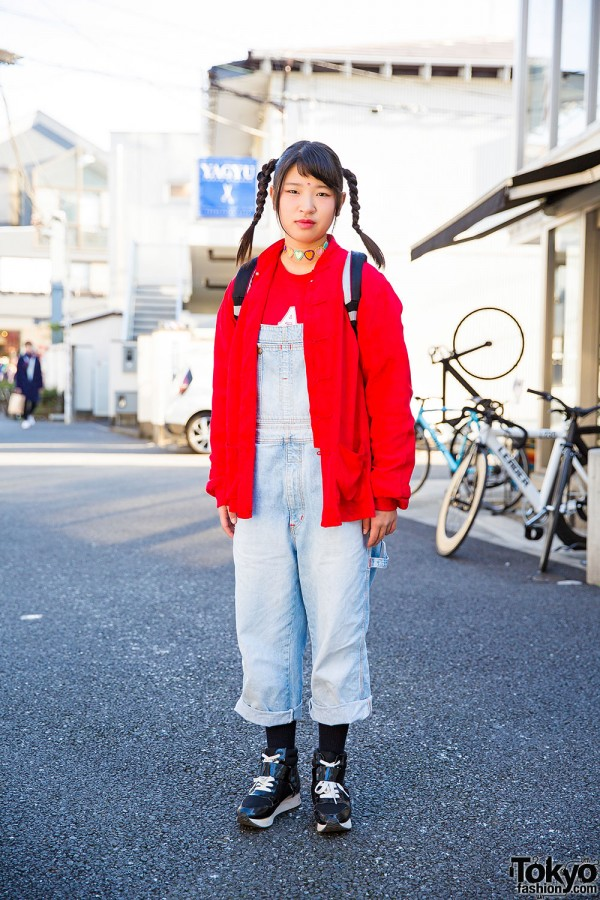 Harajuku Girl in Twin Tails w/ Sukajan Backpack & Denim Overalls