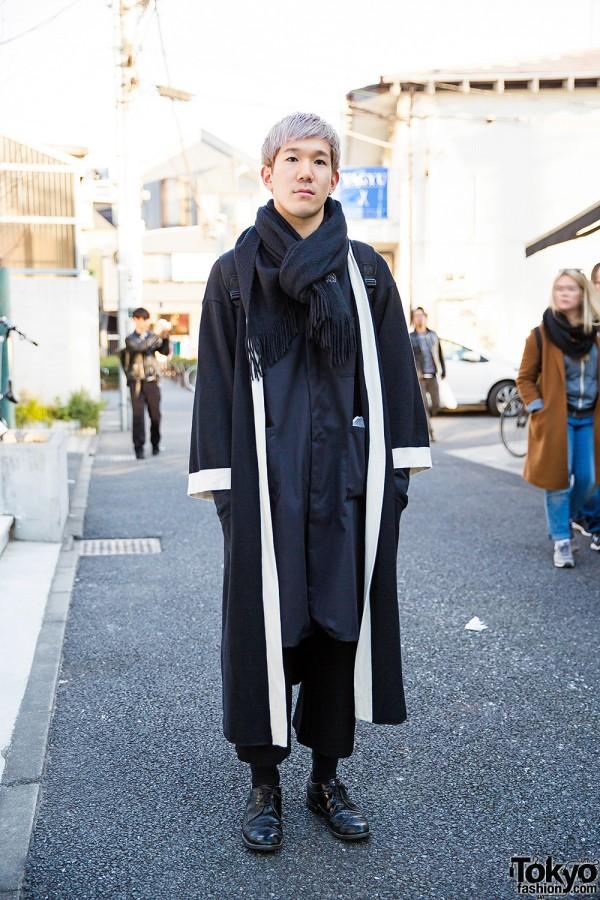 Harajuku Guy w/ Pastel Hair in Black Maxi Coat, Cropped Pants, Brogues & Backpack