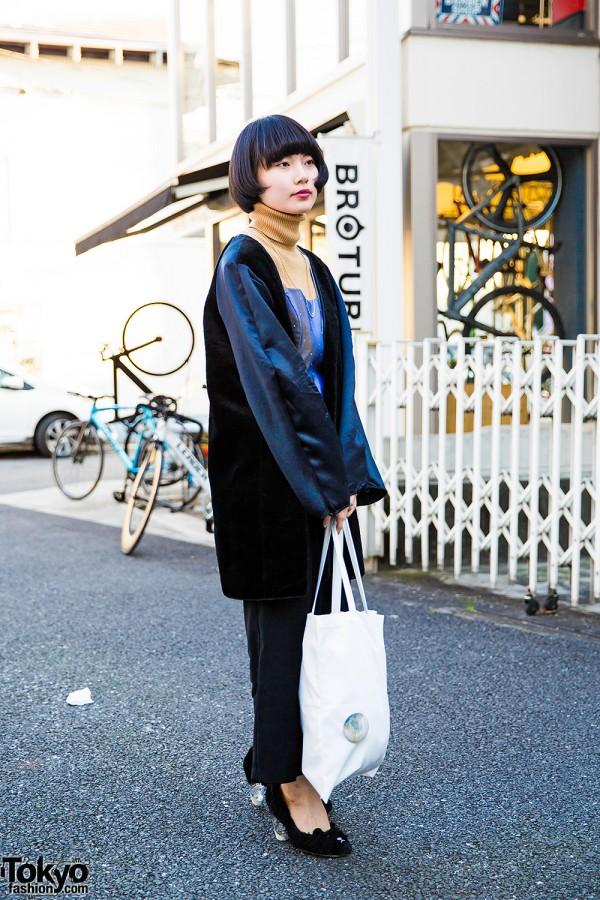 Harajuku Girl in DEPT Tokyo Velvet Coat, Turtleneck & Teddy Bear Heels