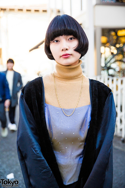 Harajuku Girl In Dept Tokyo Velvet Coat Turtleneck