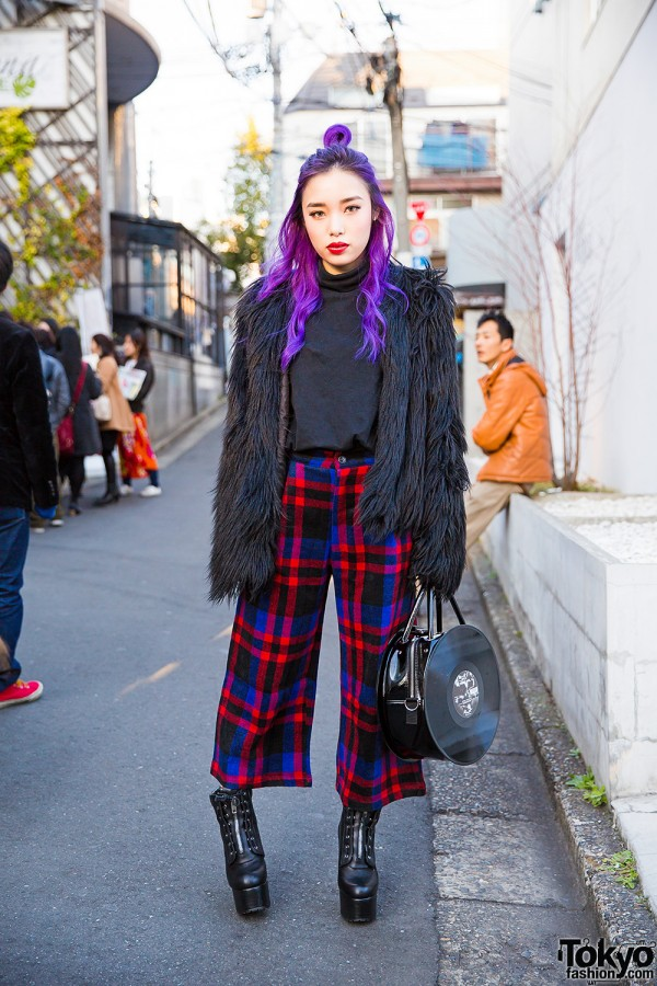 Purple Hair, Fig&Viper Faux Fur Coat, Plaid Pants & G2? Vinyl Record Bag in Harajuku