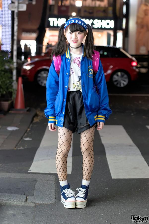 Harajuku Girl w/ Twin Tails, Kinji Resale Jacket, Clear Backpack & Platform Converse