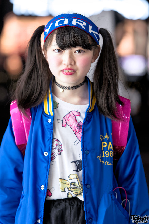 Harajuku Girl W Twin Tails Kinji Resale Jacket Clear Backpack Converse Pink Platform