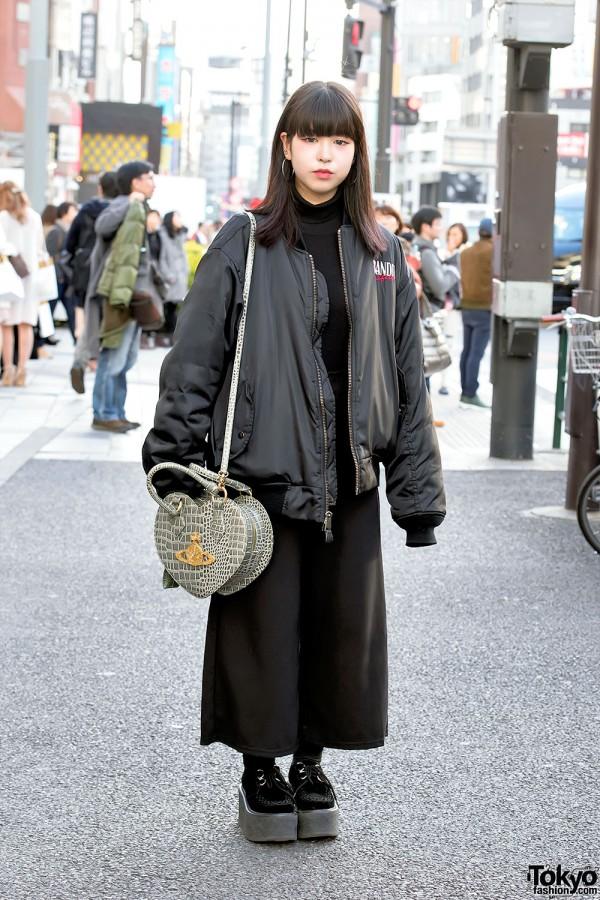 Oversized Bomber Jacket, Vivienne Westwood Heart Bag & Nadia Harajuku Street Style