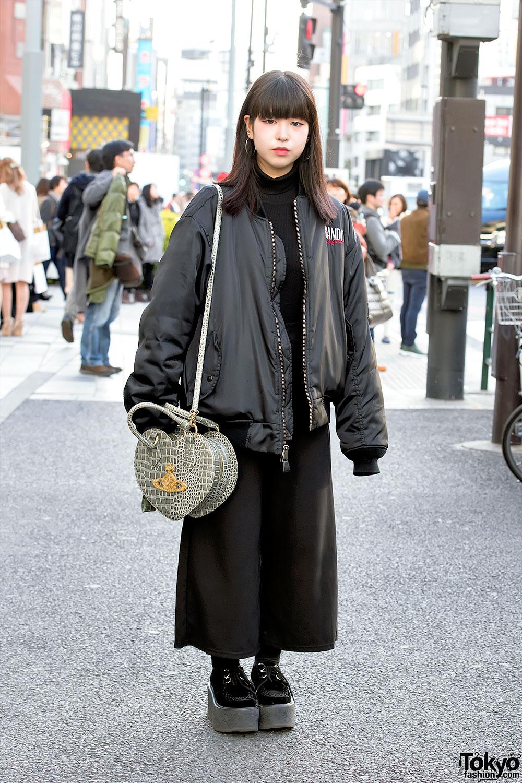 Oversized Bomber Jacket Vivienne Westwood Heart Bag Nadia Harajuku Street Style