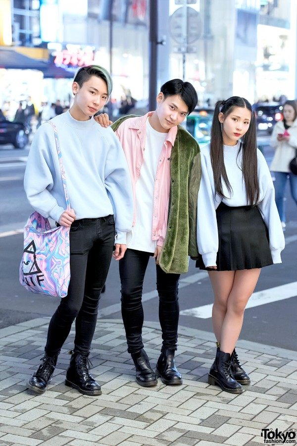 Harajuku Trio in Bubbles Pastel Sweatshirts, Dr. Martens Boots & Stussy