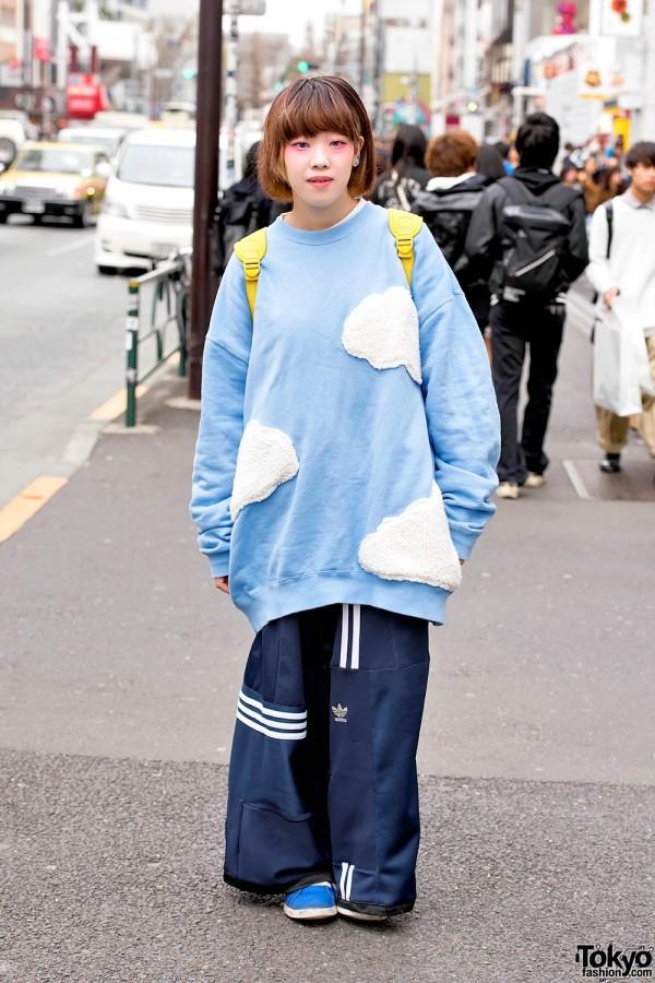 Oversized Cloud Sweatshirt & Deconstructed Adidas Pants in Harajuku
