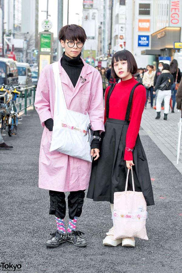 Harajuku Guy & Girl w/ Handmade Comme Des Garcons Tote Bags & Tokyo Bopper