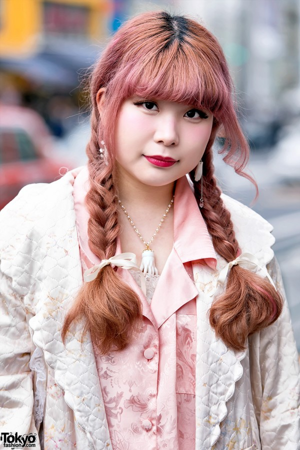 Quilted Robe & Pink Hair in Harajuku