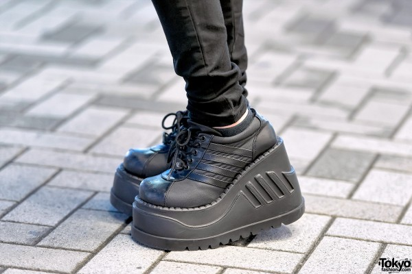 Skinny Black Jeans & Platform Demonia Shoes