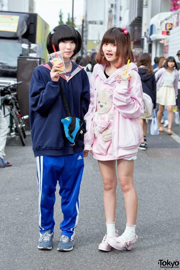 Milklim Teddy Bear Sweatshirt, Plush Rabbit, Fish Bag & Swankiss in Harajuku