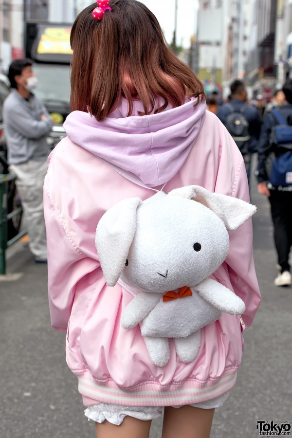 Plush Rabbit Backpack, Harajuku