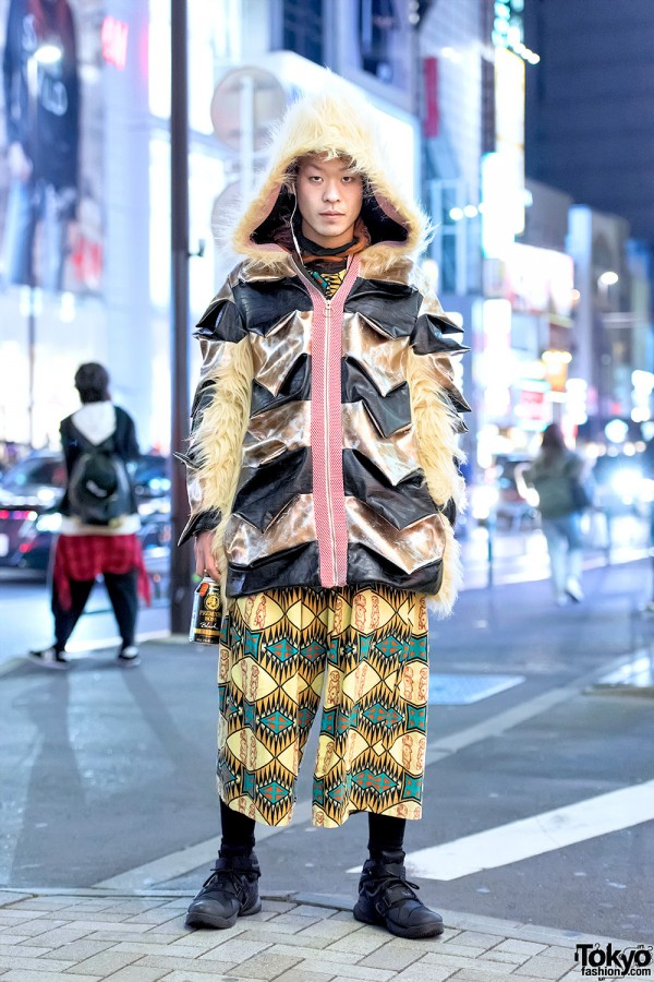 Niimi Faux Fur Hooded Coat & Dog Harajuku Graphic Street Fashion