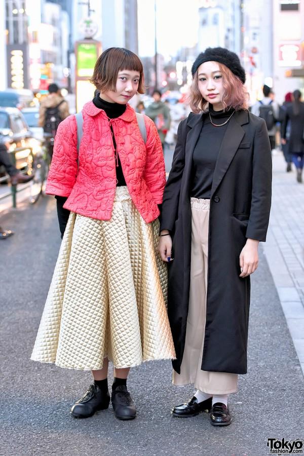 Harajuku Girls in Gold Skirt & Maxi Coat