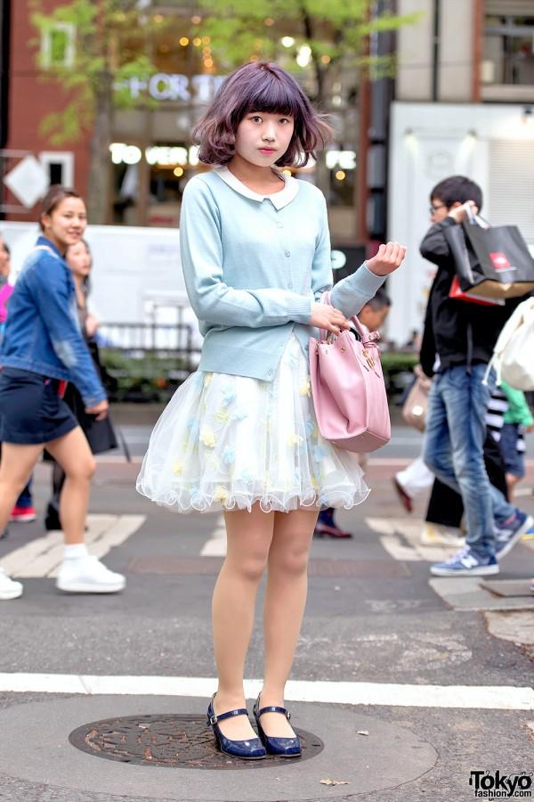 Pastel Cardgian & Sheer Skirt in Harajuku