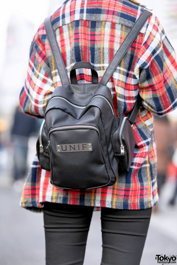 Black Leather UNIF Backpack