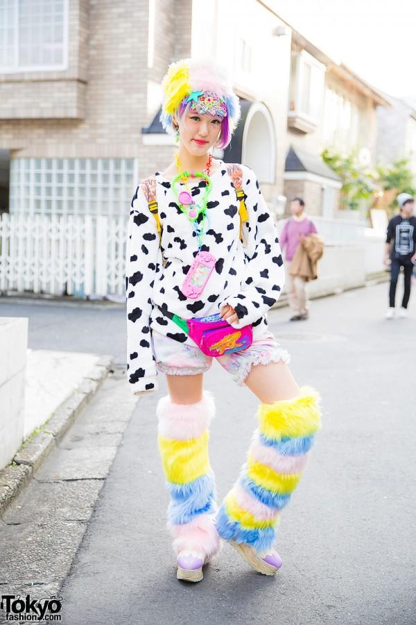 Rikarin in Harajuku w/ Colorful Leg Warmers, Cow Print & 6%DOKIDOKI