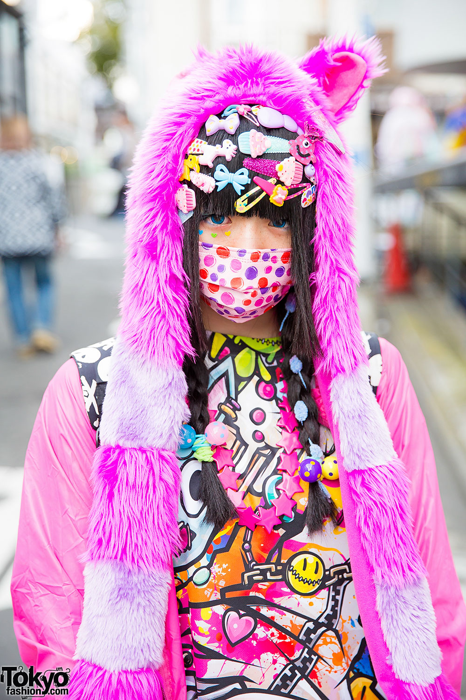 Harajuku Decora Girl In Colorful Street Style W Super
