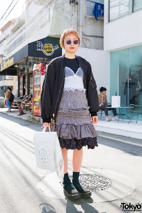 Harajuku Girl in Pink House Bomber Jacket, Hug Dress, Tokyo Bopper Backpack & Platforms