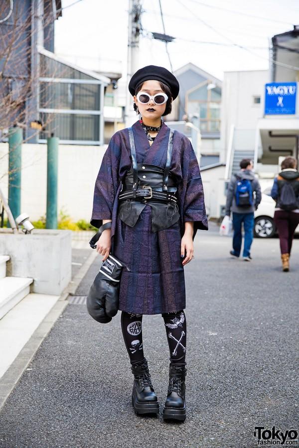 Harajuku Girl in Harness Over Kimono w/ Glad News, Demonia & Glavil