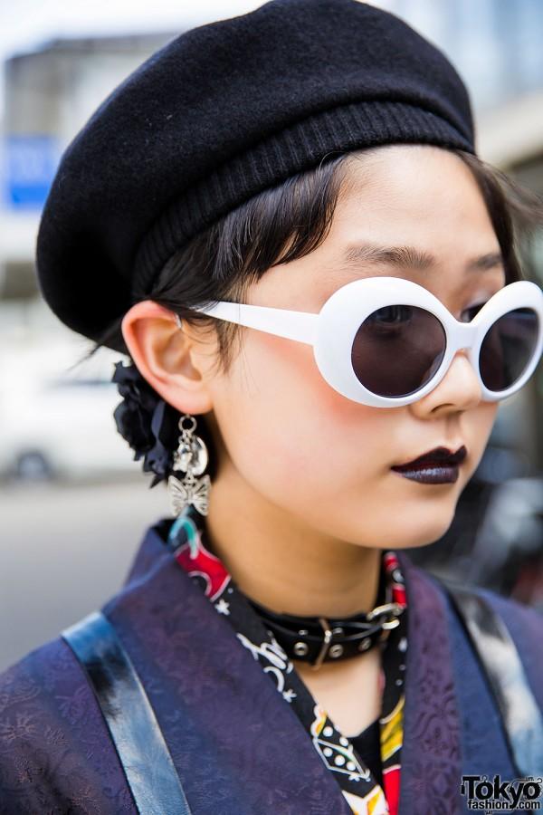 White Sunglasses & Black Lipstick