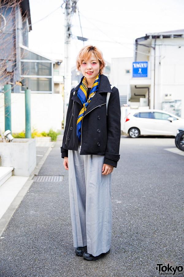 Harajuku Girl in Ships Jacket, Jeanasis Pants & Lowrys Farm Backpack