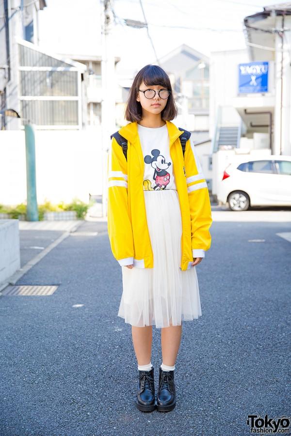Harajuku Girl in Mickey Mouse T-Shirt, Sheer Skirt & Adidas Backpack