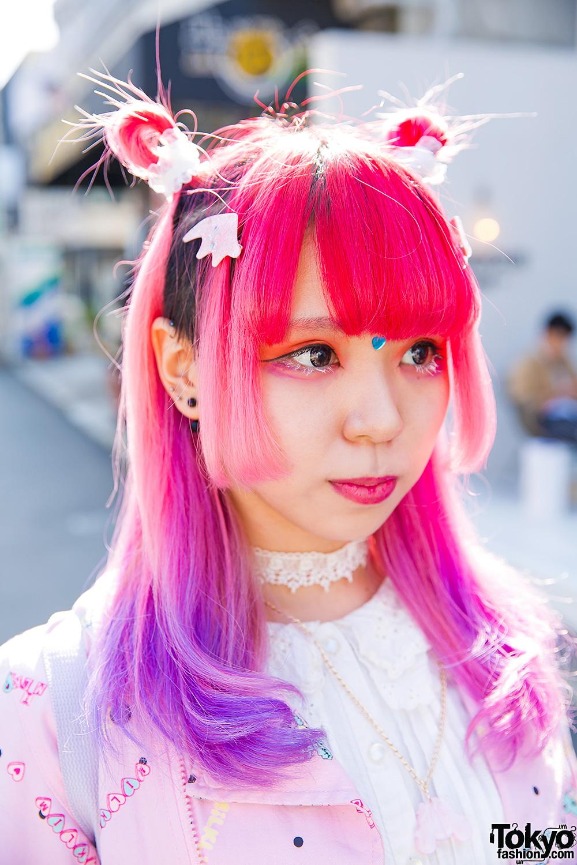 Harajuku Girl W Pink Amp Purple Hair In Milklim 6 Dokidoki
