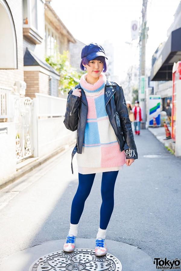 Harajuku Girl in Never Mind the XU Biker Jacket, Malkomalka & Irregular Choice