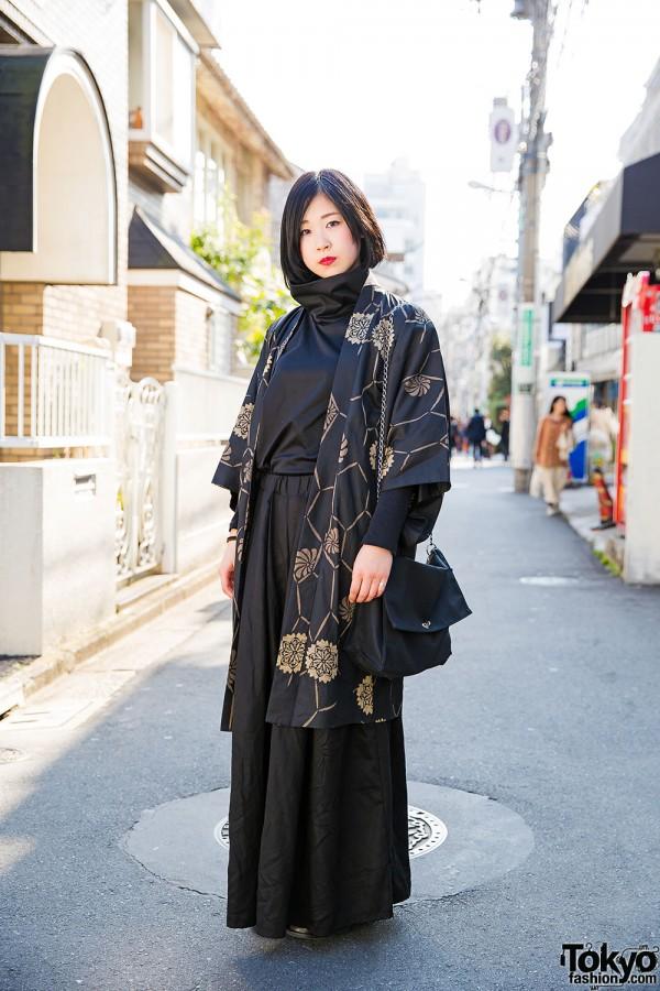 Minimalist Kujaku Style w/ Kimono Jacket & Comme des Garcons Bag in Harajuku