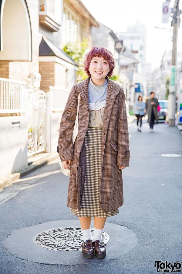 Harajuku Girl in Plaid Coat & Pink Hair