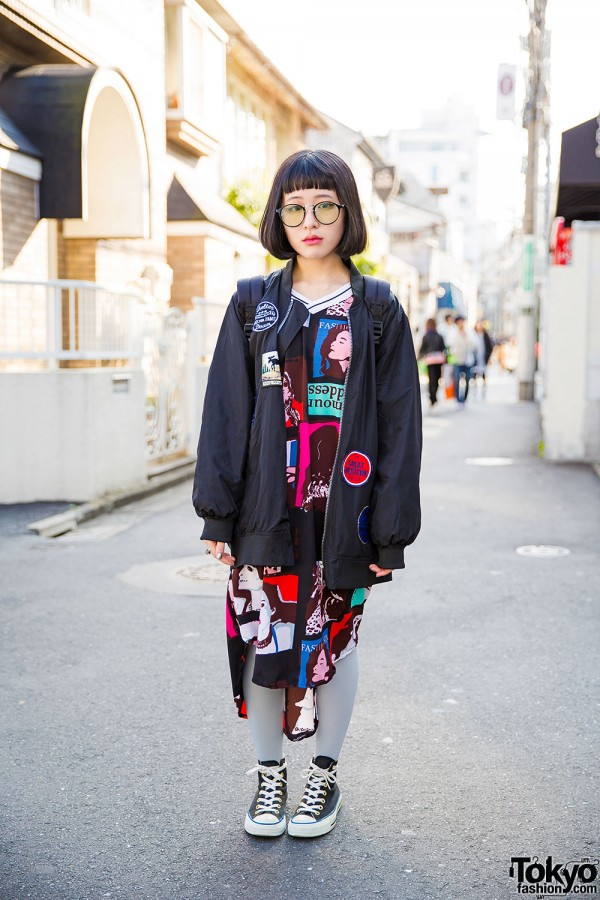 Harajuku Girl in Glasses w/ Oversized Bomber Jacket, Converse Sneakers & Backpack