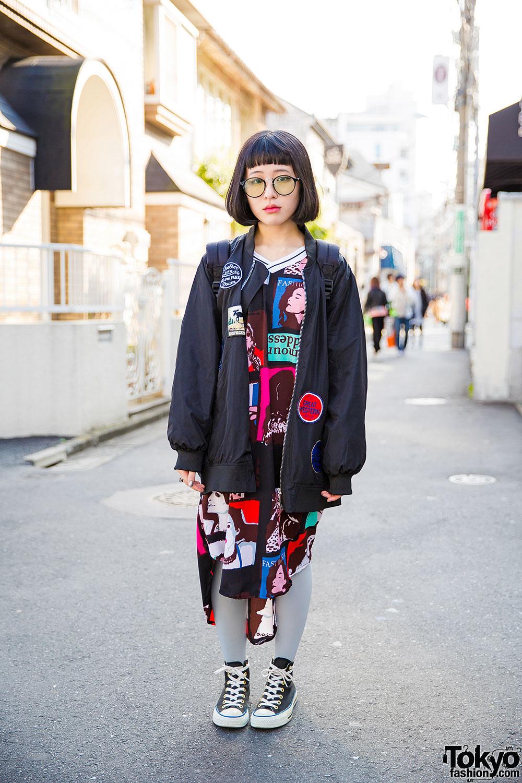 Harajuku Girl In Glasses W/ Oversized Bomber Jacket