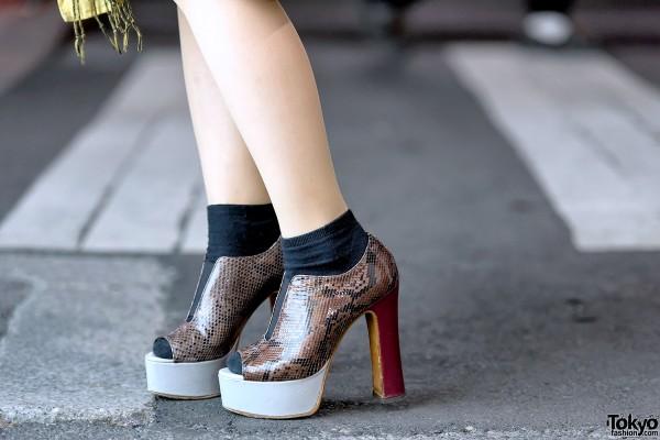 Snakeskin Platform Heels