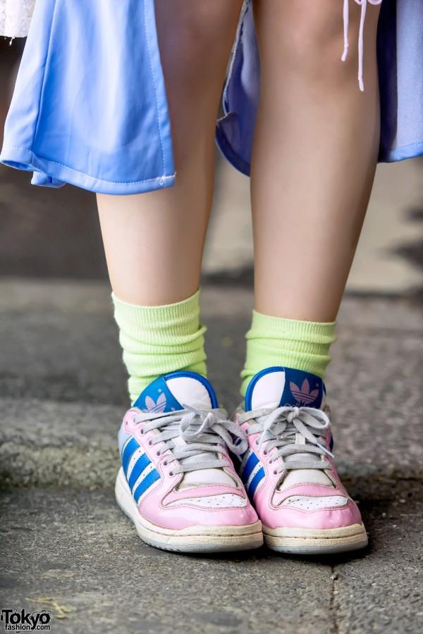 Pastel Adidas Sneakers & Neon Socks