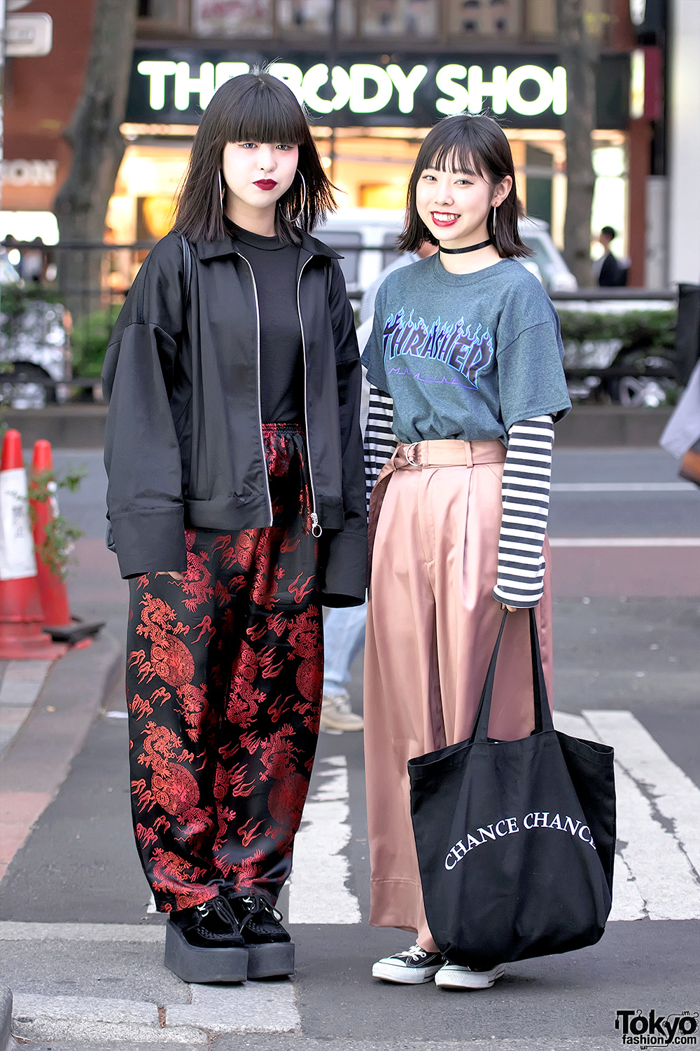 Harajuku Girls In Faith Tokyo Satin Pants Hoop Earrings