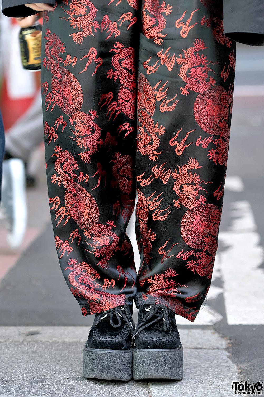 Harajuku Girls In Faith Tokyo Satin Pants Hoop Earrings