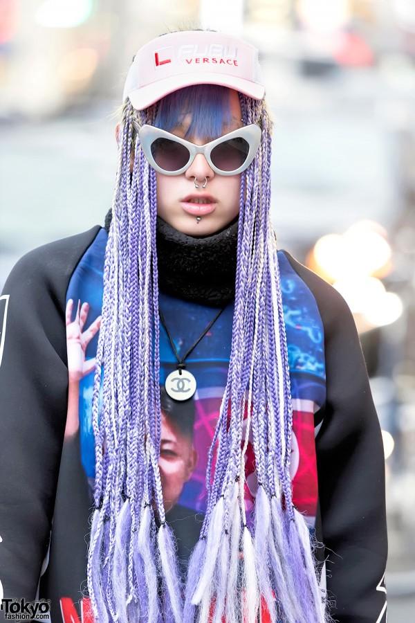UNIF Sunglasses & Purple Hair in Harajuku