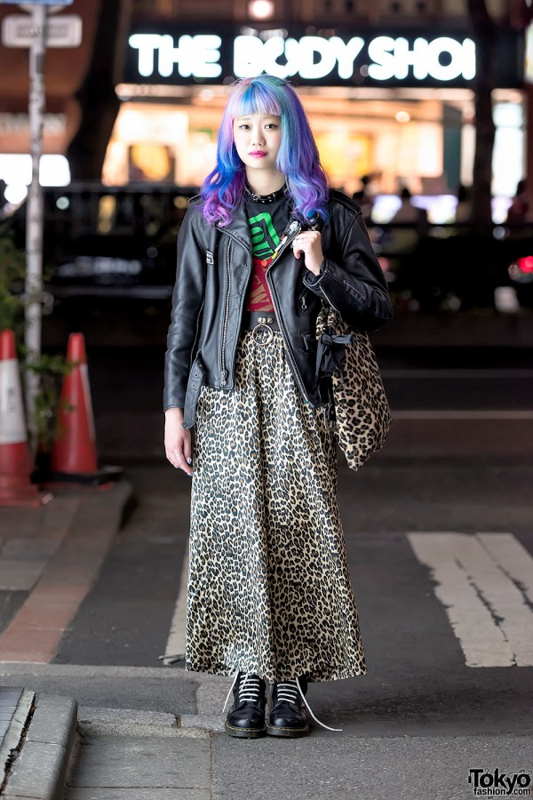 Elleanor in Harajuku w/ Purple Hair, Schott Leather Jacket, Animal Print & Dr. Martens